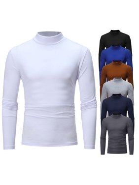 97a183726da63 Product Image Mens Long Sleeve Cotton High Neck Turtleneck Stretch Slim  Basic T Shirt Tee Tops