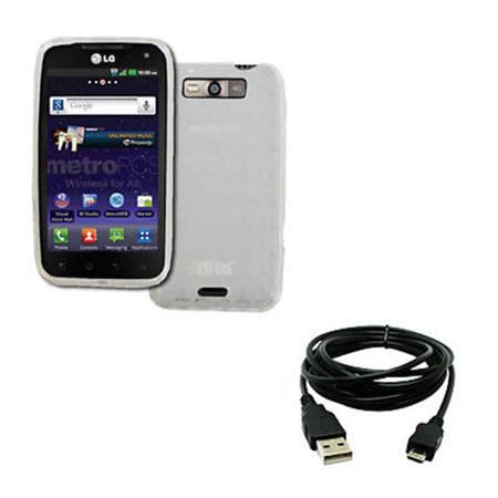 - EMPIRE LG Connect 4G MS840 Poly Skin Case Cover (Clear Diamond Pattern) + 8' USB 2.0 Data Cable [EMPIRE Packaging]
