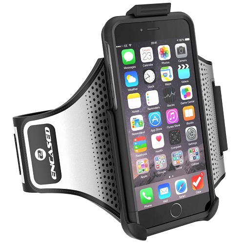 "iPhone 7 Plus 5.5"" Armband & Case, [S-TREK] Secure-fit Workout Band w/ Hybrid Sport Cover (Jet Black)"