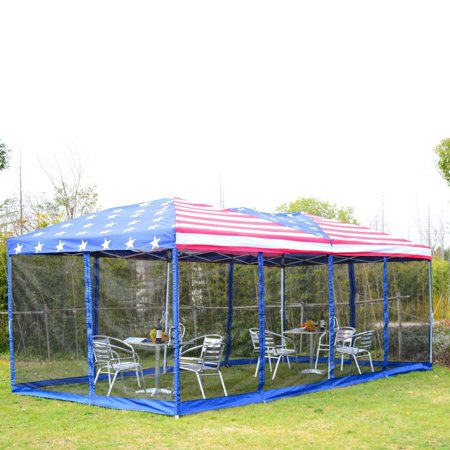 Outdoor Canopy Tent 10'x20' Gazebo Patio Shelter With Netting Side Walls