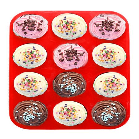 12-Cavity Silicone Cake Mold Baking Pan for Homemade Cake Cupcake Bread Muffin Pudding Jello and More Microwave Safe Nonstick Dishwasher Safe (Homemade Halloween Baking)