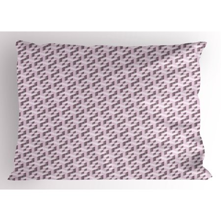 Abstract Pillow Sham Three Dimensional Isometric Cube Pattern Geometric Design Modern Illustration, Decorative Standard Size Printed Pillowcase, 26 X 20 Inches, Pale Pink Taupe, by