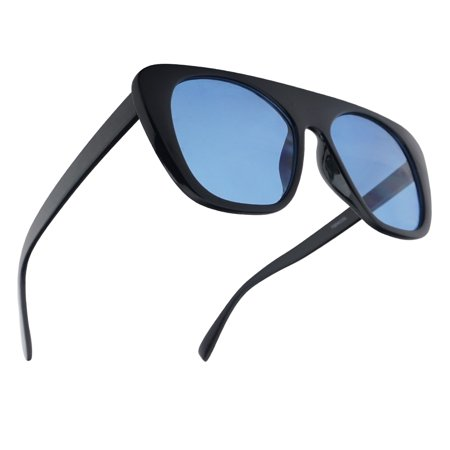 Men and Women Bold Flat Top Squared Aviator Shield Style Oversized Sunglasses - Black Frame with Blue Transparent Mono Block Lenses (Transparent Aviator Sonnenbrille)
