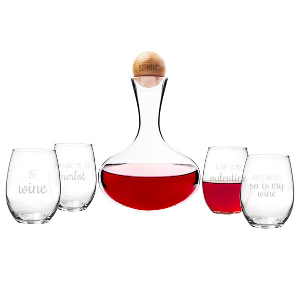 Be Mine Wine Decanter & Glass Set by Cathys Concepts