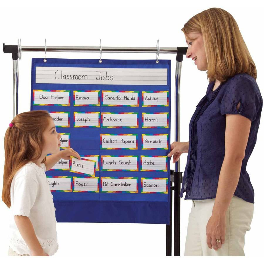 "Carson Dellosa Classroom Helpers Pocket Chart, Includes Cards, 25.5"" x 30"", Blue"
