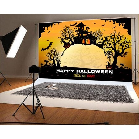 HelloDecor Polyster 7x5ft Happy Halloween Photo Background Pumpkin Face Castle Backdrops for Photographer Photography Backdrops - Cute Happy Halloween Background