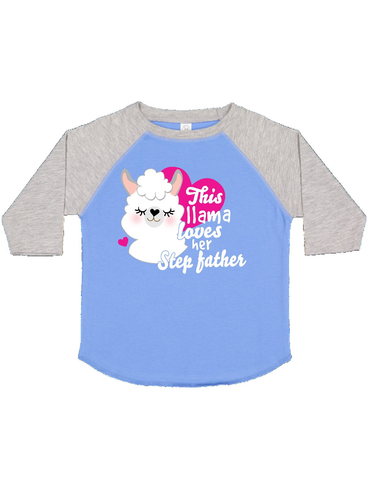 inktastic Valentines Day This Llama Loves Her Step Dad Toddler T-Shirt
