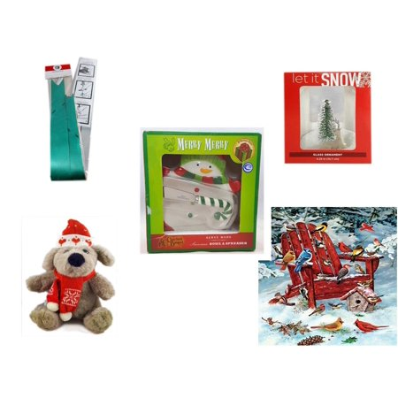 Christmas Fun Gift Bundle [5 Piece] - Myco's Best Pull Bows Set of 10 - Let It Snow Glass Ornament Deer - Cracker Barrel Serveware Snowman Bowl & Spreader - Soft & Cuddly  Dog Sitting  12