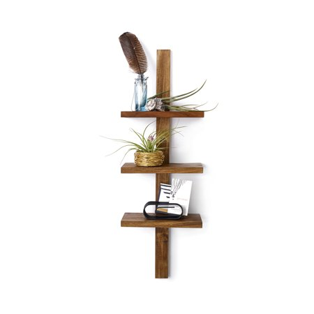 - Design Ideas Takara Column Shelf, Natural Teak Decorative Wall Mounted Shelving Unit with 3 Shelves, 24