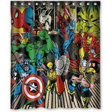 Ganma Whitexue Captain America Hulk Spider Man Surprised Shower Curtain Polyester Fabric Bathroom Shower Curtain 60x72 - Man Shower