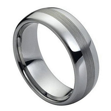 8mm Tungsten Carbide Domed High Polish with Brushed Center Wedding Band Ring For Men or - Brushed Center High Polish