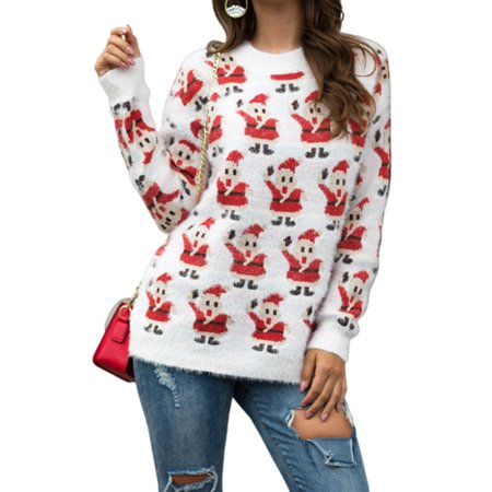 Women Long Sleeve Christmas Santa Claus Sweater Xmas Sweatshirt Jumper Winter Pullover Tops ()