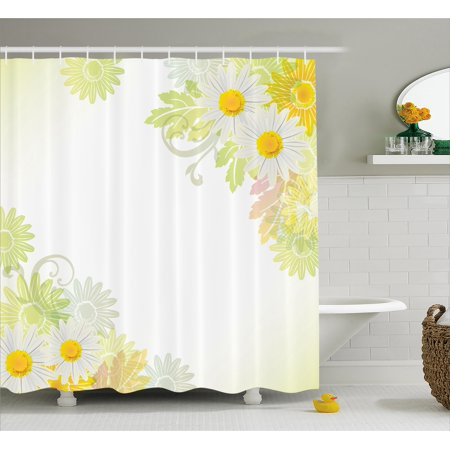 Flower Shower Curtain, Floral Daisies Abstract Oriental Details and Leaves with Sun like Art Print, Fabric Bathroom Set with Hooks, White and Yellow, by Ambesonne (Oriental Art Supply)