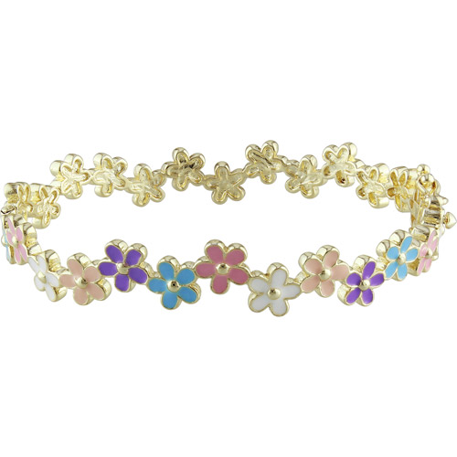 Cutie Pie 18kt Gold-Tone Girls' Multi-Color Enamel Flower Bracelet, 6.5""