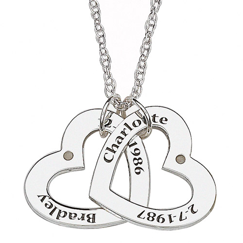 """Personalized Couples Name and Date Mini Hearts Sterling Silver Pendant, 20"""""""