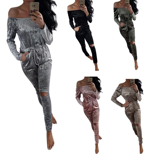 DYMADE Womens Off Shoulder Crushed Velvet Jumpsuit Velour Loungewear Romper Playsuit