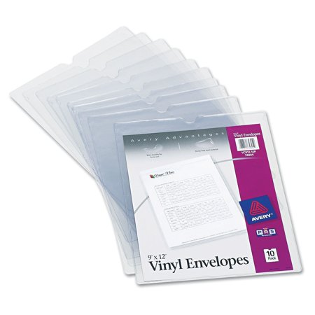"Avery Vinyl Envelopes - 74804 Top-Load Clear Vinyl Envelopes w/Thumb Notch, 9"" x 12"", Clear (Pack of 10), Each envelope is sealed on three sides and features a convenient.., By Avery"