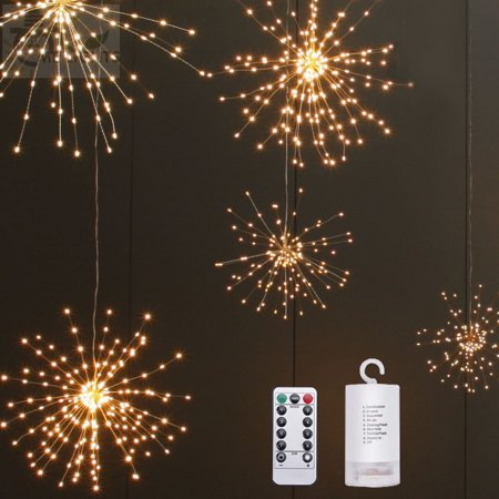 LED Waterproof Solar Powered Simulate Fireworks String Light for Outdoor Courtyard Decor 40branch 200 LEDs copper wire warm white ()