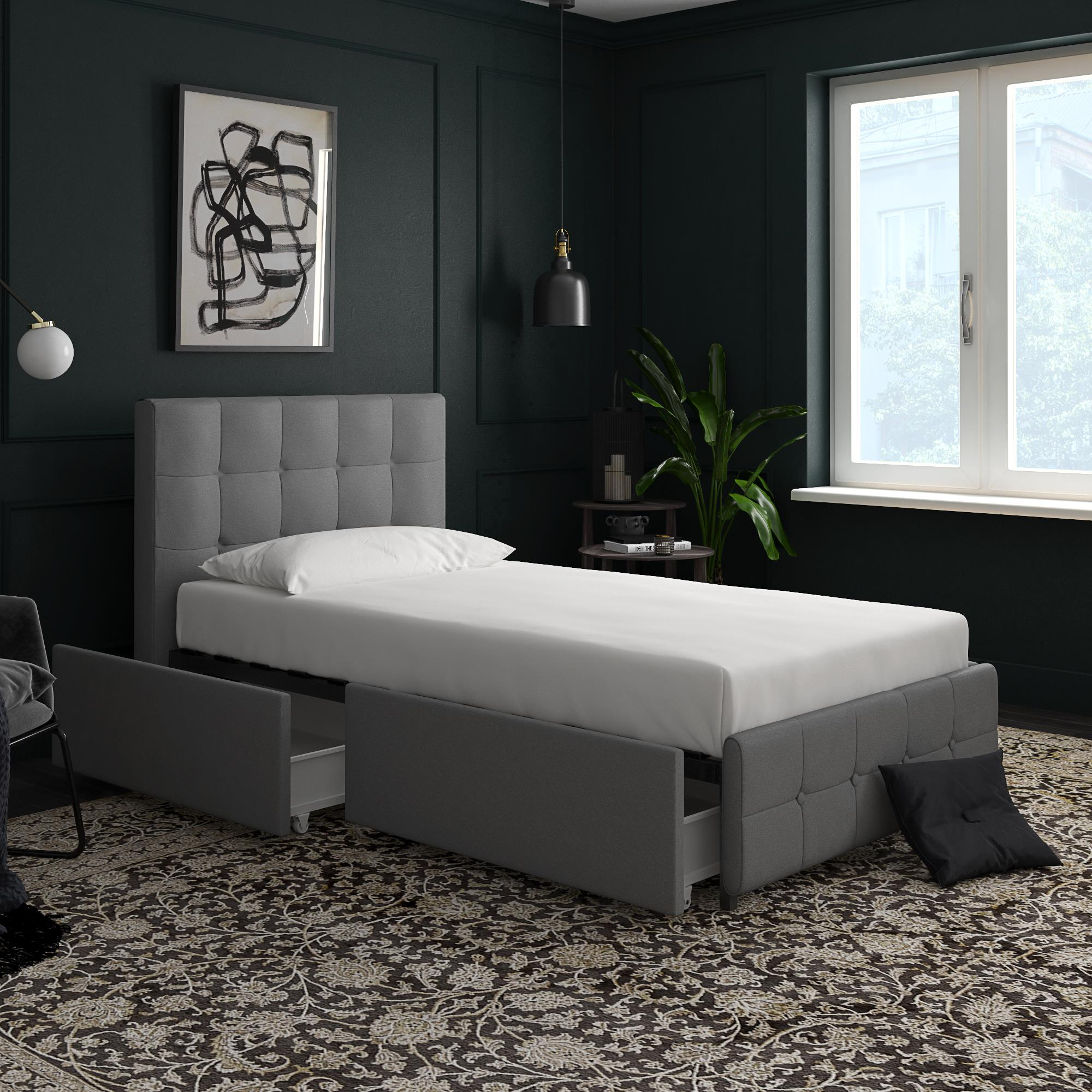 DHP Rose Upholstered Bed with Storage , Grey Linen - Twin