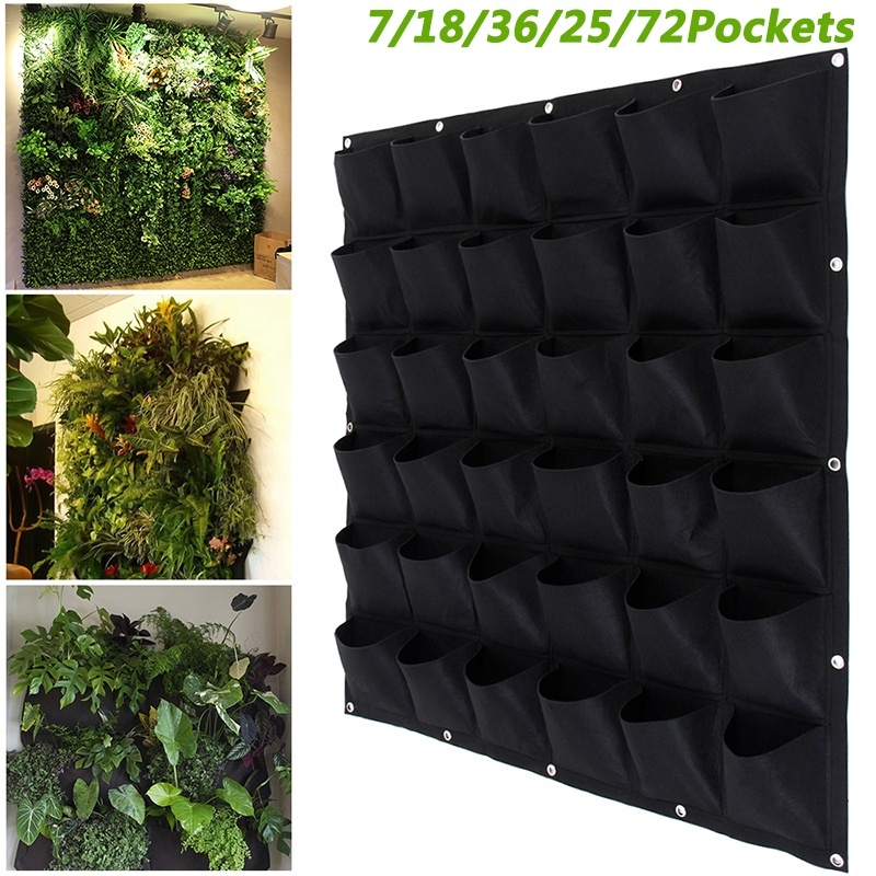 Vertical Wall Garden Planter with 36 Round Pockets Vertical Wall Hanging Plant Grow Bag Breathable Felt Gardening Planter Pocket for Indoor Outdoor Flowers Vegetables