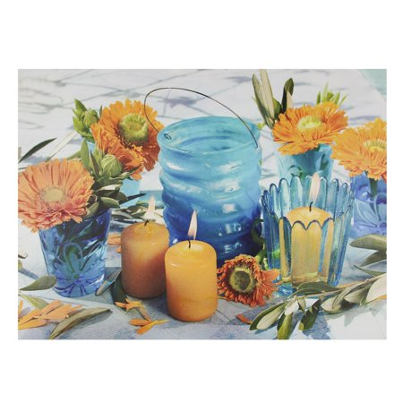 Led Flowers (LED Lighted Flickering Candles and Flowers Glass Candles Canvas Wall Art 12