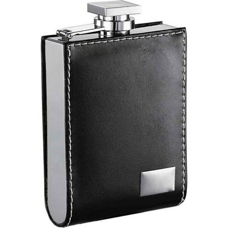 Visol Products Wallet Leatherette Engraving Plate Liquor - Leatherette Flask