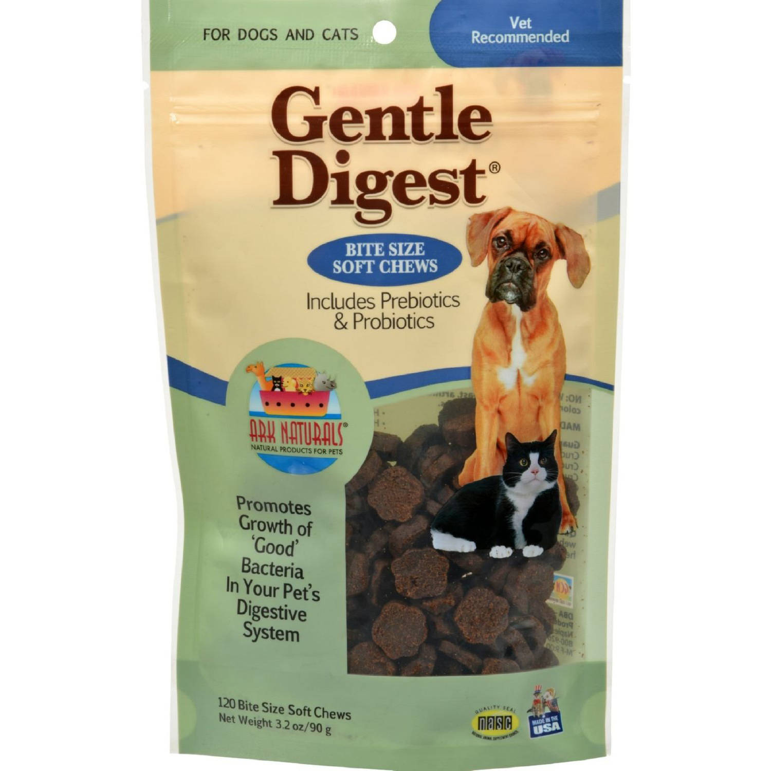 Ark Naturals Gentle Digest Soft Chews for Dogs and Cats, 3.2 oz