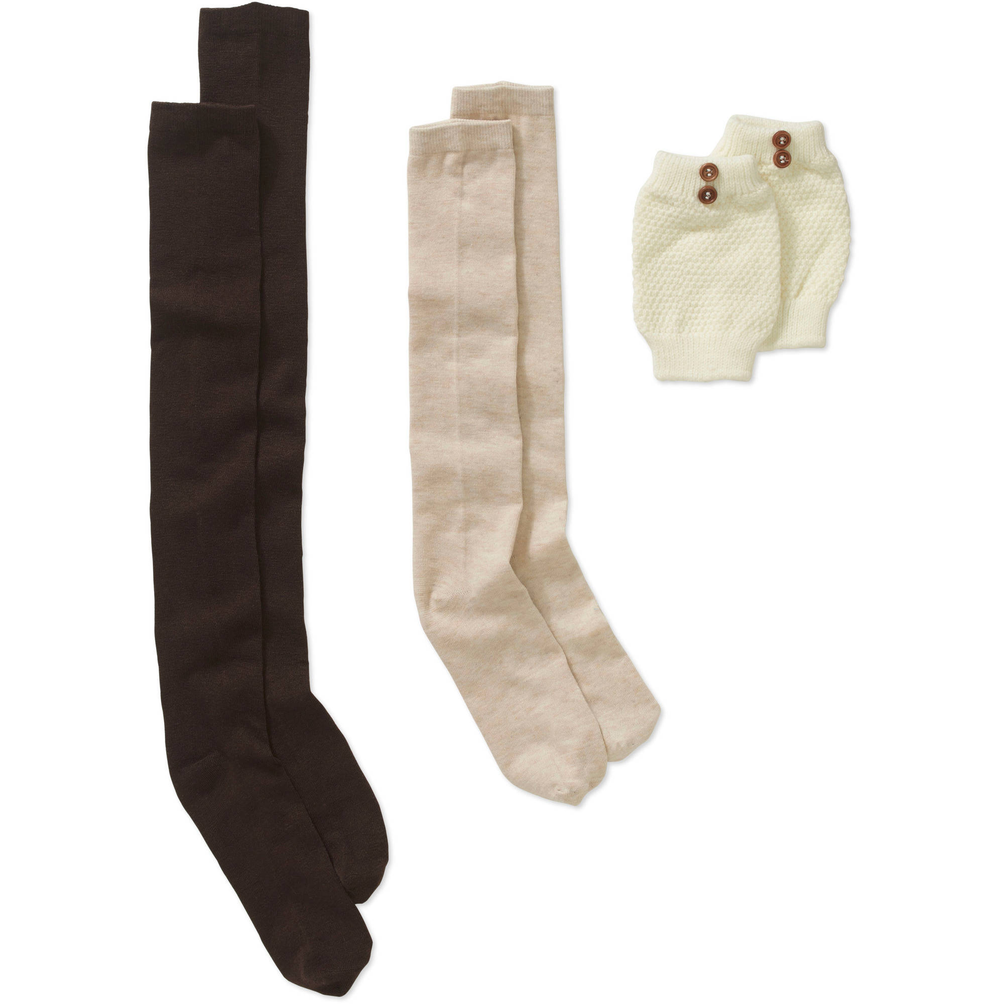 Ladies Knee High, Over the Knee, and Boot Cuff with Ribbed Seed Stitch and Button Detail Sock Set