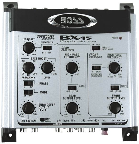 Boss Audio Bx45 2/3-way Electronic Crossover With Remote Subwoofer Level Controls