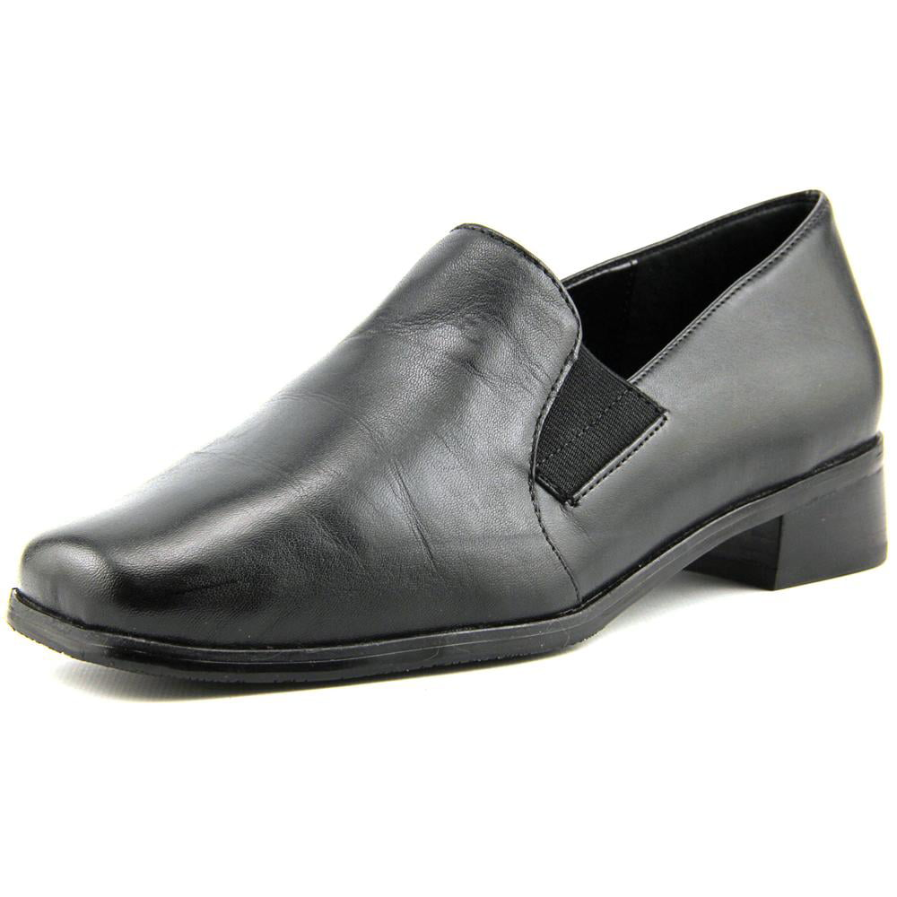 Trotters Ash Women N S Square Toe Leather Black Loafer by Trotters