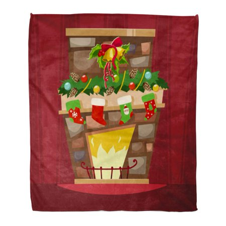 ASHLEIGH Flannel Throw Blanket Christmas Fireplace Mantle Stockings Holly Berry Leaves Bell Cartoon Soft for Bed Sofa and Couch 58x80 Inches](Fireplace Mantels Decorated Halloween)