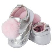 Little Me Silver Wingtip Shoes with Pink Pom Pom