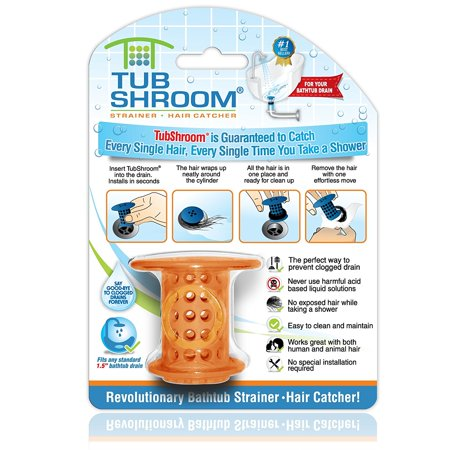 (TubShroom Revolutionary Hair Catcher Drain Protector for Tub Drains (No More Clogs) Orange)