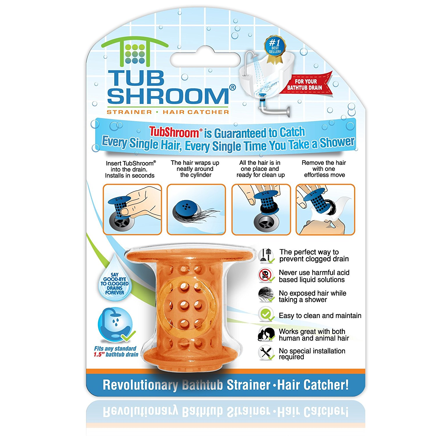 TubShroom Revolutionary Hair Catcher Drain Protector for Tub Drains (No More Clogs) Orange