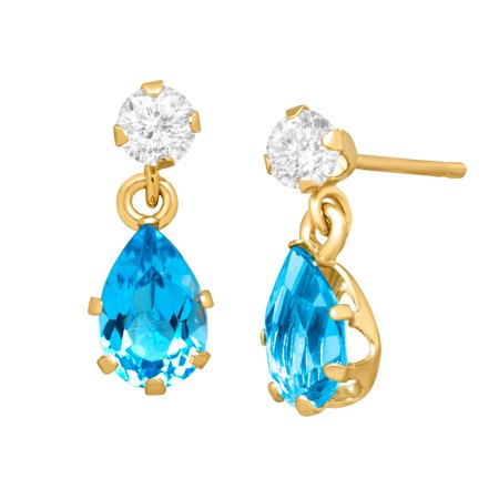 - 1 1/5 ct Natural Swiss Blue & White Topaz Drop Earrings in 10kt Gold