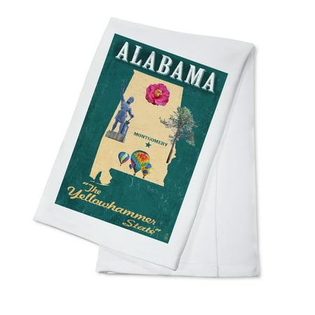 State Dish Towel - Alabama - State Icons - Lantern Press Artwork (100% Cotton Kitchen Towel)
