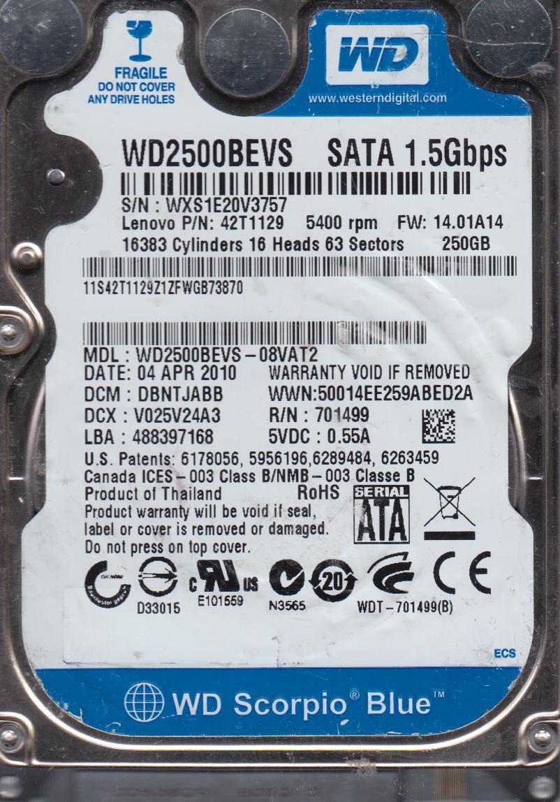 WD2500BEVS-08VAT2, DCM DBNTJABB, Western Digital 250GB SATA 2.5 Hard Drive by WD