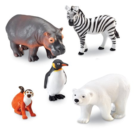 Learning Resources Jumbo Zoo Animals I Monkey, Penguin, Zebra, Polar Bear, and Hippo, 5 - Learn Baby Zoo Animals