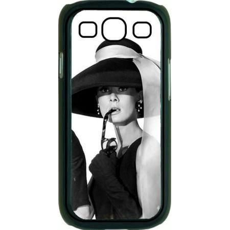 637a37cf4bf Audrey Hepburn wearing a big hat Hard Black Plastic Case Compatible with  the Samsung Galaxy s3 i9300 Phone - Walmart.com