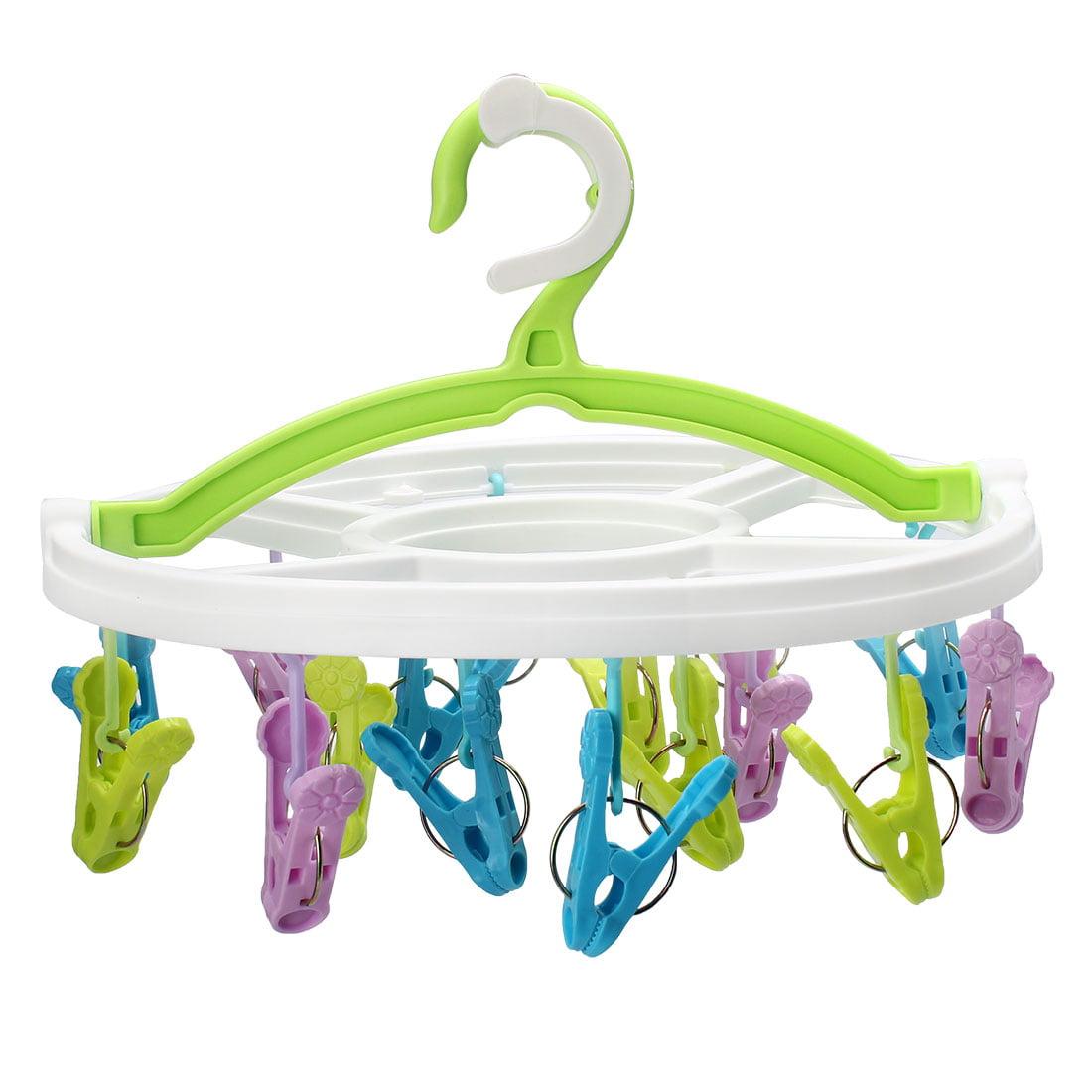 Home Bathroom Plastic 16 Clips Swivel Hook Clothes Underwear Socks Hanger Rack