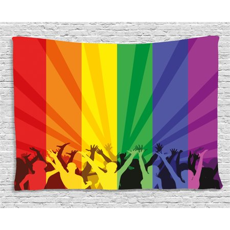 Pride Decorations Tapestry, People Celebrating International Day for LGBT Community Colorful Striped, Wall Hanging for Bedroom Living Room Dorm Decor, 80W X 60L Inches, Multicolor, by Ambesonne