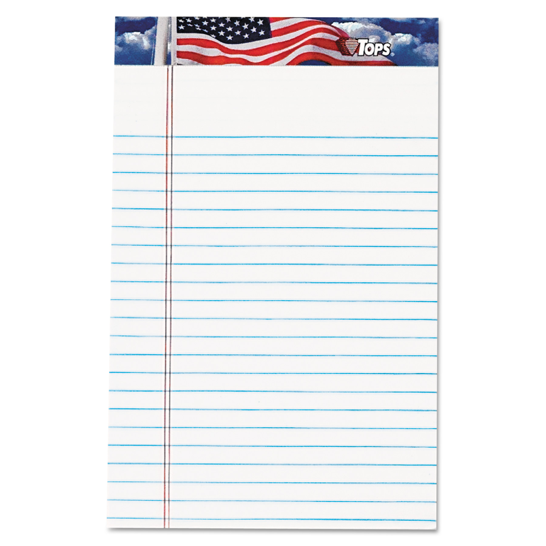 TOPS American Pride Writing Pad, Jr. Legal Rule, 5x8, White, 12 50-Sheet Pads/Pack