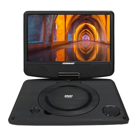 Koramzi Portable 9  Swivel Dvd Player With Rechargeable Battery   Usb   Av Out   Headphone Jack   Remote Control  Ac Dc Power Adaptor  Multi Region Dvd Format  Pdvd 900