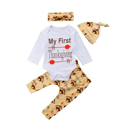 Thanksgiving Newborn Baby Boy Girl Long Sleeve Romper Bodysuit Tops Pants Hat Outfits Clothes Set