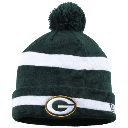 Green Bay Packers New Era Legacy 2-Tone Stripe Cuffed Knit Hat with Pom - Green - OSFA