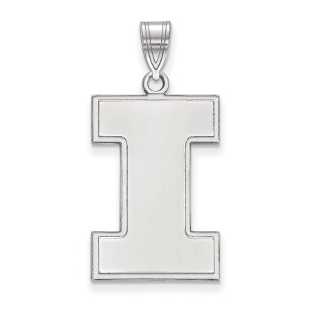 Solid 10k White Gold University of Illinois Extra Large Pendant (15mm x 30mm)