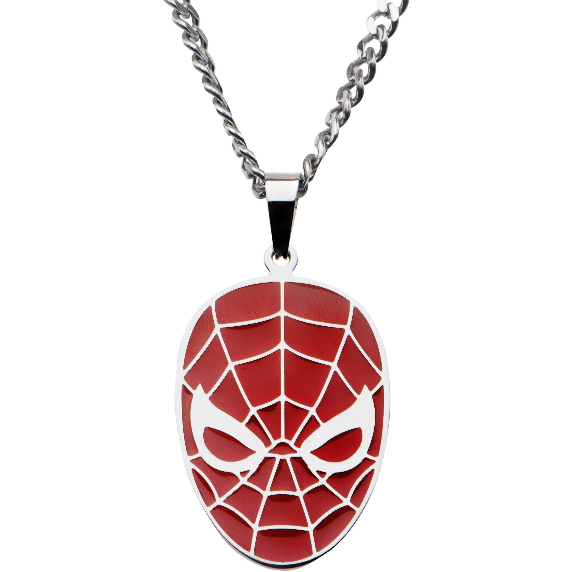 "Marvel Men's Stainless Steel Spider-Man Red Face Pendant, 22"" Chain"