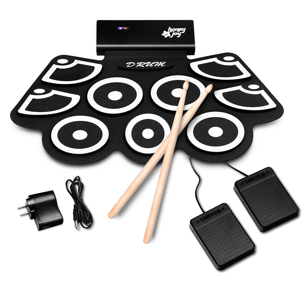 Gymax Electronic Roll Up Drum Set Silicone Rechargeable Bluetooth w/Foot Pedals Sticks