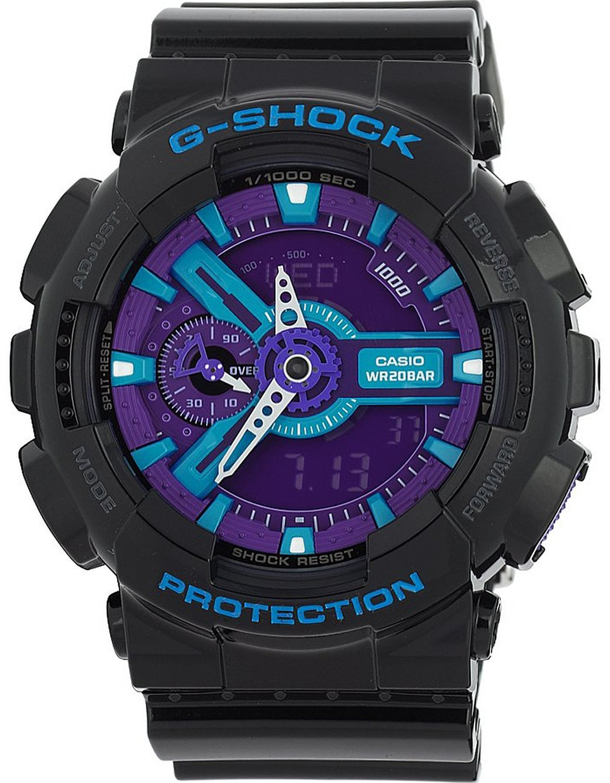 Mens G-Shock XL Ana-Digi Resin Watch - Black Rubber Strap - Multicolor Dial - GA110HC-1A