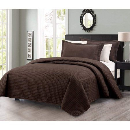 Chezmoi Collection Edan 3-Piece Solid Modern Quilted Bedspread Coverlet Set ()